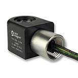 Solenoid Coil System 8 ATEX, 36mm, three-wired end sleeve for strands, thread ½-NPT for cable conduit, thermoplastic